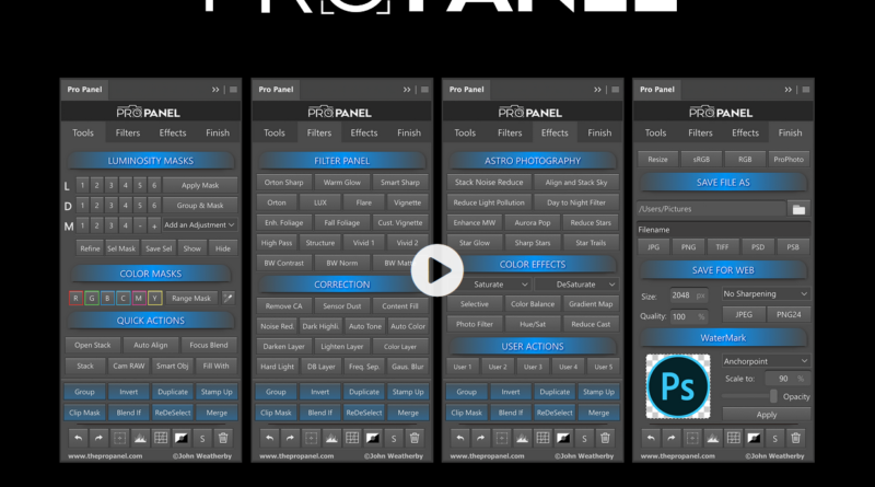 The pro panel speeds up your editing in photoshop