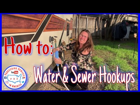 RV water & sewer hookup for Newbies at campground ~ RV Nomads ~ Full Time RV living ~ POA vlog