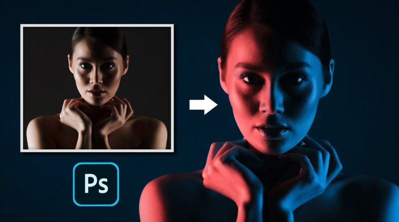 Watch how to create the split-lighting coloured gel look in Photoshop