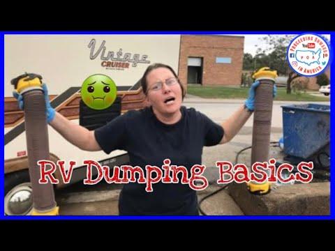How to dump RV black & grey tanks for Newbies ~ Free Dump Station ~ Full Time RV living ~ POA vlog