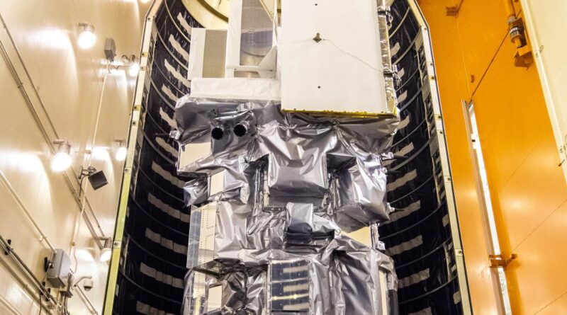 Landsat 9 Spacecraft Moved Into Position for Encapsulation